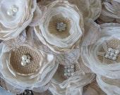DIY Wedding Bouquet ideas~Rustic Wedding Flower Ideas~Flowers For Mason Jar Centerpiece~Burlap Flowers~Flower Decorations for Baby Shower