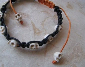 Halloween Skull Macrame Bracelet, Tiny Ivory Skull Bracelet, Black and Orange Halloween Bracelet, Adjustable