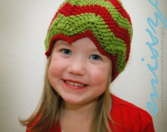 Crochet Hat Pattern - Christmas Chevron Hat - EASY -  Toddler and Child Size - PDF pattern