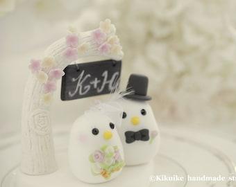 birds Wedding Cake Topper with flower tree and blackboard (K339)