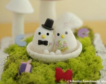 love bird with nest Wedding Cake Topper (K357)