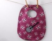 SALE - Guitar with Skulls Baby Bib for Girls - Oversize Bib with Snaps
