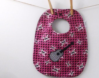 SALE! Guitar with Skulls Baby Bib for Girls - Oversize Bib with Snaps