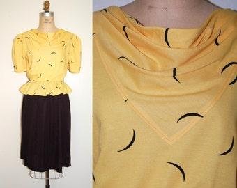 Peplum Dress Small Medium  80s Peplum Dress. Vintage Cowl Neck Dress.  Crescent Moon Print Dress.  Flounce S. M.