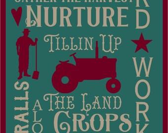 Farmer Typography Stencil 7 mil Transparent Blue Mylar Reusable