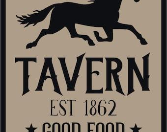The Olde Black Horse Tavern Primitive Stencil 7 mil  Mylar Reusable