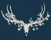 Art Print of Deer Skull and Forest Paper-Cut (on blue)