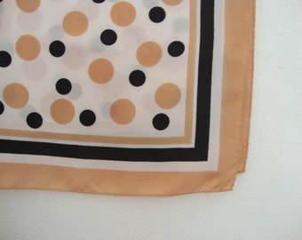 Polka Dots Scarf square scarf White scarf Large square scarf light brown scarf Brown dots Black dots Mod dots scarf Lots of Dots