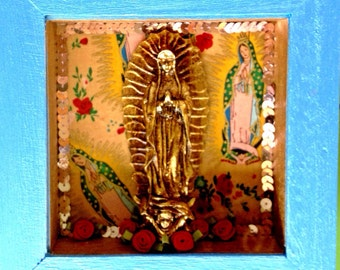 La Virgen de Guadalupe Nicho Shrine Blue Gold Pink