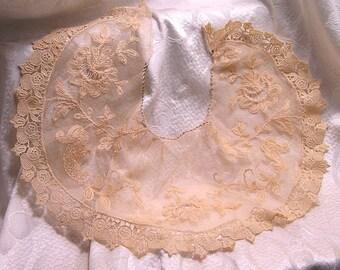 Antique Ecru Lace Collar Looks Handmade Beautiful Detailed Work (J105)