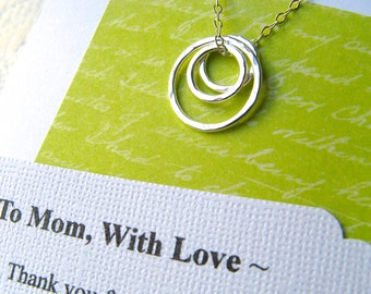 MOM Necklace - Poem Card Gift for Mother Jewelry for Mom Sterling Silver Rings Representing a Mother and Her Children - REMINDER POEM