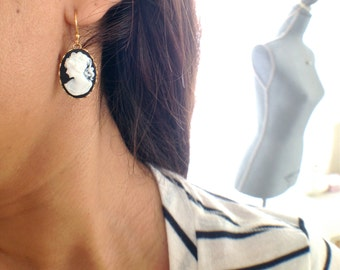 timeless gold filled cameo earrings