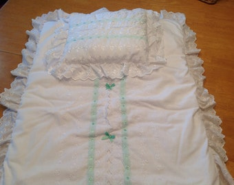 Bassinet quilt and pillow set.