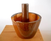 Wood and Salt Fired Pottery Mortar and Pestle, Ceramic Kitchen Tool
