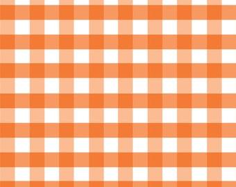 Orange Gingham in large - 1/2 inch - from Riley Blake Fabrics - 1/2 yard