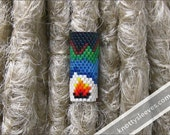 Peyote Stitch Dread Sleeve Dreadlock Accessory Dread Bead Loc Jewelry with Mountain Camping Scene