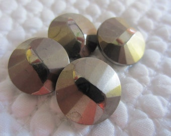 Vintage Buttons -  beautiful lot of 4 matching glass, black glass, painted silver metallic,  (lot 8168)