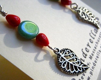 Bohemian Beaded Dangle Leaf earrings  in silver, turquoise, and colral