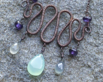 Copper swirl  necklace with chalcedony and amethyst