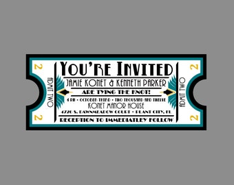 Wedding Invitation - Vintage Antique Art Deco Art Nouveau Border Movie Ticket Wedding Invitation