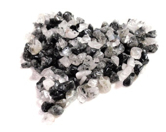 Tourminilated Quartz Chip Pebble Beads Black and White MonoChrome Smooth Crystal Beads A7