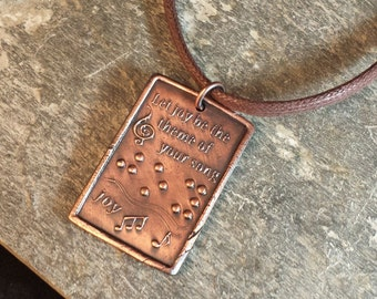 Let Joy be the Theme of your song Braille Pendant by Jewelry in Braille