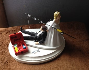 Cake Topper Funny Bridal Wedding Day Bride Groom  Going Gone Fishing Theme Hair color changed for free