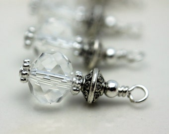Clear Multifaceted Rondelle Crystal Bead Dangle Charm Drop Set - Earring Dangle, Charm, Drop, Pendant, Wedding