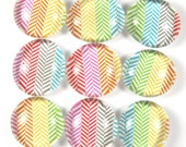 Glass Marble Magnets or Push Pins Set - Bright Rainbow Herringbone