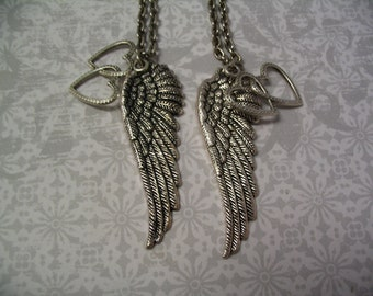 Angel Wings Heart Necklace Set Jewelry Gift for Sisters Friends or Mother Daughter