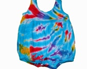 Girls Romper in Rainbow Tie Dye with Turquoise Accents