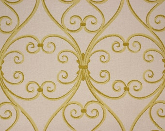 1960's Vintage Wallpaper Yellow Grillwork on White