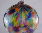 Mosaic Peacock Feather Blown Glass Ornament 3.5 inches FREE SHIPPING
