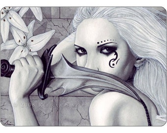 The Ghost ACEO Print Gothic Fairy Assassin Artist Trading Cards ATC Fantasy Art Pale White Knife