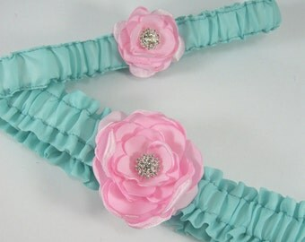 Wedding Garter, Mint and pink Wedding Garter, set G025 - Bridal garter Accessories