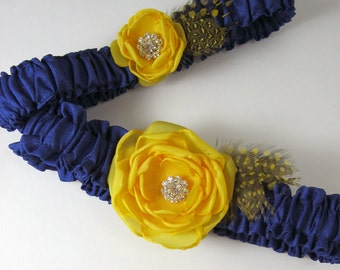 Yellow and Blue Feather wedding Garter K285- something blue bridal garter accessory