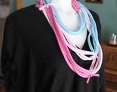 upcycle pink and blue t-shirt scarf infinity fabric necklace eco-friendly