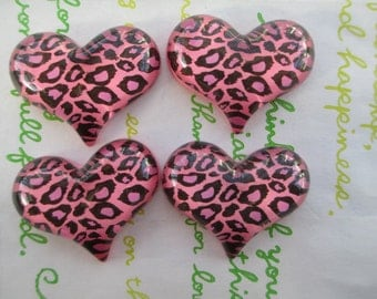 NEW item LEOPARD heart  cabochons 4pcs Pink