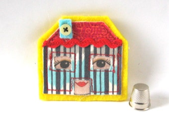 Little House Brooch, Alice in Wonderland Brooch, Dolls House Pin, Textile Brooch, Fabric Brooch