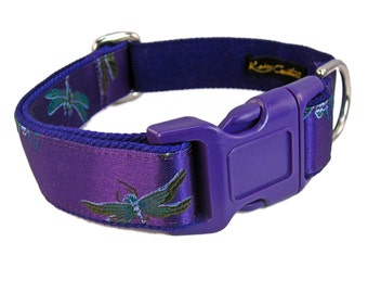 Purple Dog Collar - Fancy Dog Collar - Medium Dog Collar - Custom Collar for Girl Dogs - Dragonfly Dog Collar - Unique Dog Collar