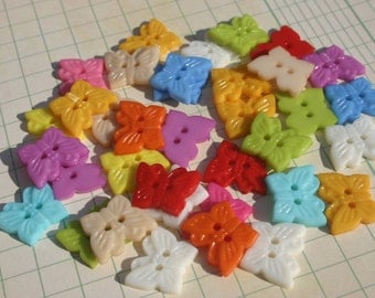 "Butterfly Buttons - Bright Colors Bulk Sewing Button - 3/4"" - 36 Assorted Buttons"
