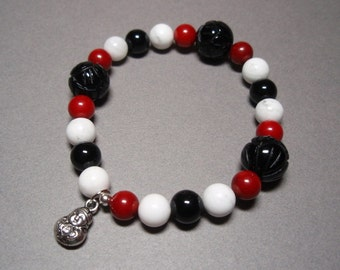 Little Buddha - Red Coral Black Onyx and Howlite Gemstone Elastic Band Beaded Bracelet