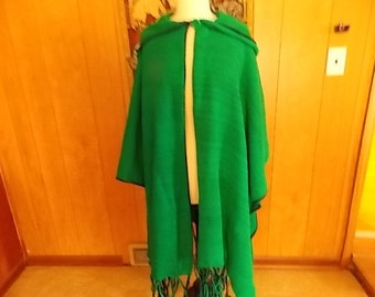 Shades of Green w/navy trim Poncho