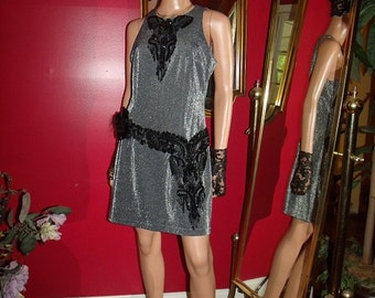 Flapper Dress   20s Theme Exclusive  of Decoration Handmade one of kind