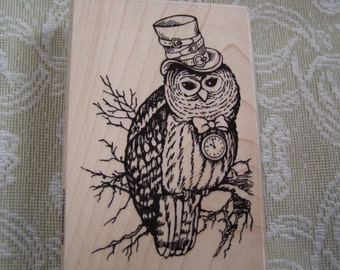 Steampunk Owl  wood mounted Stamp