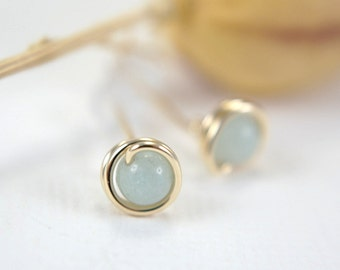 Tiny amazonite post earrings 14k gold filled wire wrapped earrings light blue green aqua stud earrings mini second piercing 5mm gemstone