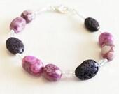Pink Volcano Bracelet Sterling Silver Gemstone Bracelet by keiara SRA