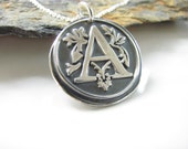 Wax Seal Initial - Hand Made from Fine Silver Necklace on Sterling Chain - Made to Order