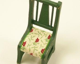 Green Kitchen Chair Dining Wooden 1:12 Dollhouse Miniatures Scale Artisan