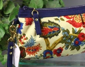 Summer Sale .. Floral Wristlet Clutch, Blue, Red, Yellow, Green, Vintage Floral Fabric Wristlet Zipper Bag, Floral Zipper Clutch Purse
